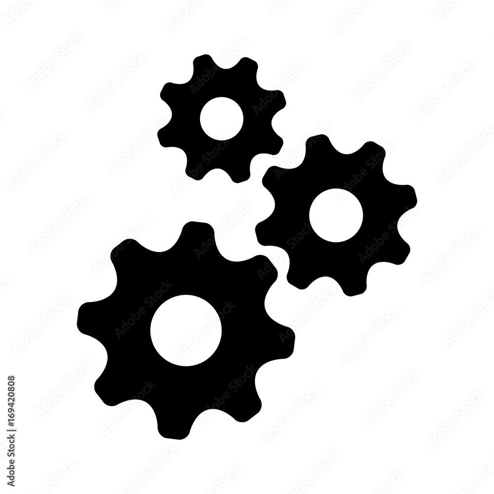 Fototapeta Black gear vector icon on white background