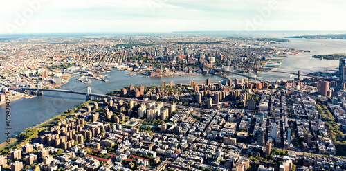 Photo Aerial view of the Lower East Side of Manhattan the Brooklyn and Manhattan bridg