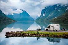 Motorhome Parked Over Lake In ...