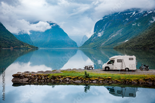 Aluminium Prints Camping Family vacation travel, holiday trip in motorhome