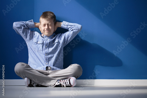 Boy with hypersensitive auditory Canvas Print