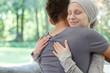 Sick wife hugging husband