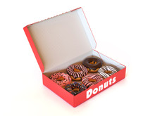Donut Box Isolated On White Ba...