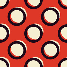Red And White Stylish Retro Polka Dots Seamless Vector Pattern. Ringed Circles Texture. Classy Vintage Repeated Background For Print, Textile, Or Web Use.