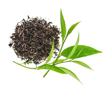 Heap Of Dry Tea With Green Tea Leaves Isolated On White Background