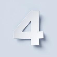 White Bent Paper Font Number 4