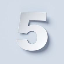 White Bent Paper Font Number 5