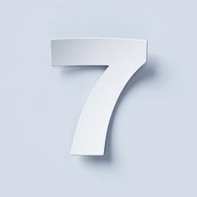 White Bent Paper Font Number 7