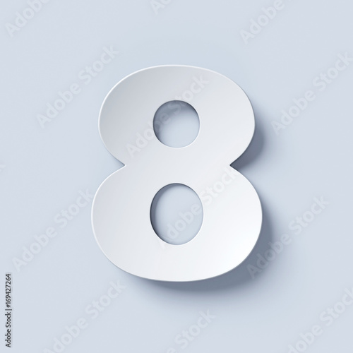 White bent paper font number 8 Wall mural