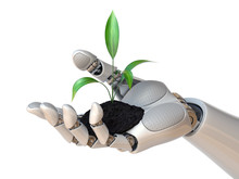 Robot Hand Holding Plant, Synt...