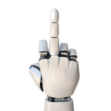 Robot Hand Showing Middle Finger 3d Rendering
