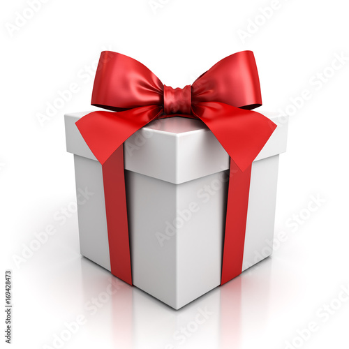 Gift box or present box with red ribbon bow isolated on white background with shadow and reflection . 3D rendering. © masterzphotofo
