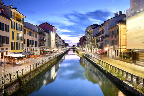 City on the water Naviglio Grande Canal at the Blue Hour, Milan, Italy