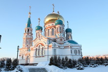 Uspensky Cathedral In Omsk. Siberia. Russia. It Was Built In 1898.