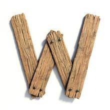 Wood Font, Plank Font Letter W