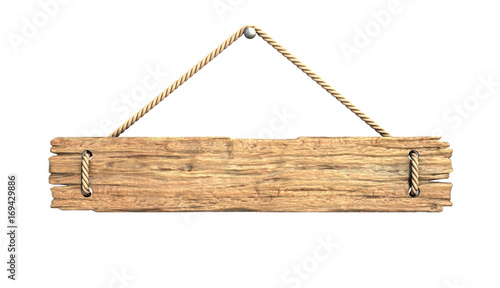 Wooden medieval sign board hanging on rope isolated on white 3d rendering © koya979