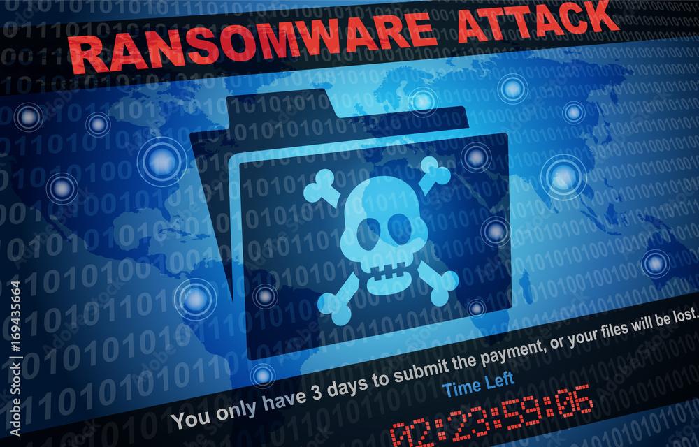 Fototapeta Ransomware Attack Malware Hacker Around The World Background