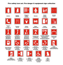 Fire Safety Icon Set. Fire Dan...