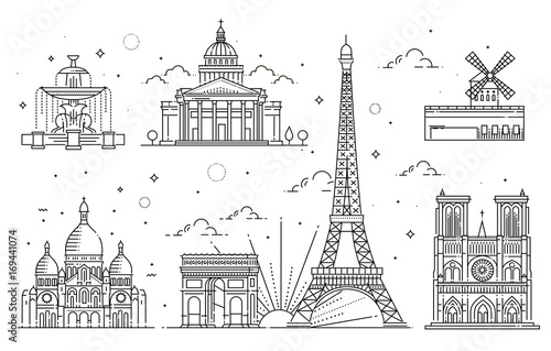 Architectural landmarks of Paris Canvas Print