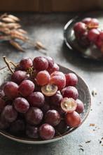 Purple Grapes In Rustic Atmosphere