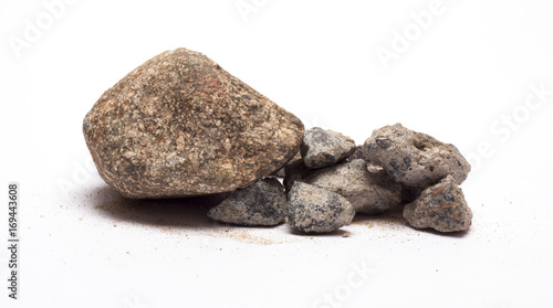 stones with sand on a white background\stones with sand\nature,material,isolated objects