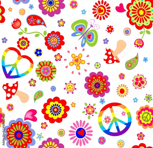 Fotografía  Childish wallpaper with colorful hippie peace symbol, butterfly, mushroom and ab