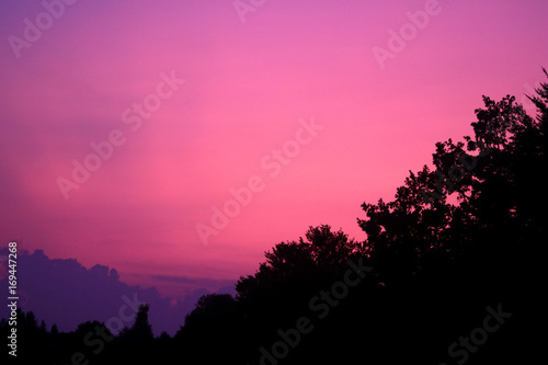 Deurstickers Candy roze Abendrot - Magenta beendet einen schönen Abendhimmel
