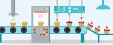Cupcakes Factory. Machine For ...