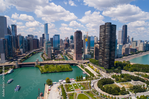 Photo sur Toile Chicago Aerial Chicago Navy Pier and Lake Shore Drive
