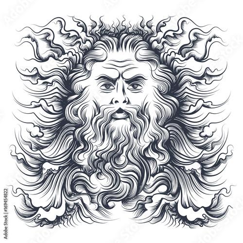 Fotografie, Obraz Neptune Head Illustration