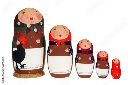 Set of Russian dolls Babushka Matrioshka isolated on white background Canvas Print