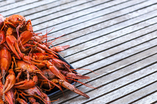 A plate of red crawfish