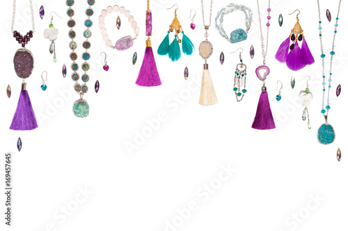 Fotografie, Obraz  Handmade turquoise and violet bijouterie with gems, tassels and feathers, top vi