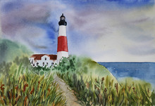 A Path To Lighthouse Watercolo...