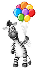 Cute Zebra Holding Colorful Ba...