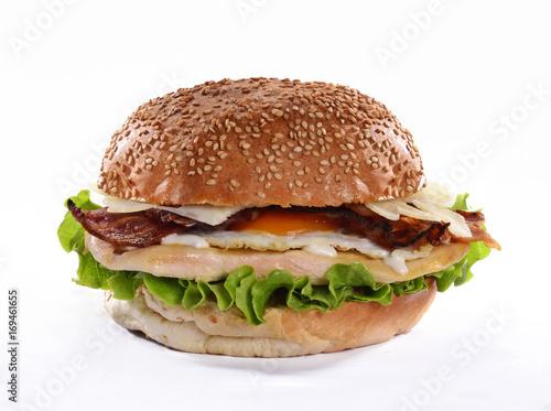 Photo Hamburguesa de pollo con tocino.