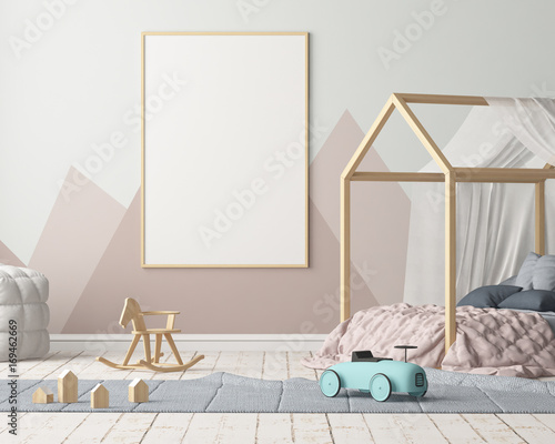 Fotografía  Mock up poster in the children's bedroom with a canopy
