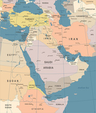 Middle East Map - Vintage Vect...
