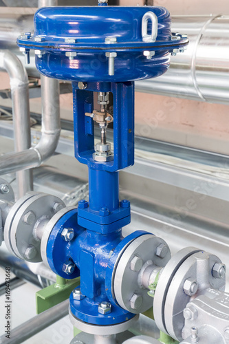 Photo Pneumatic control valve in a steam heating system