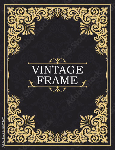 Fototapeta Gold decorative frame. Greeting card in grunge or retro style. Interwoven vintage ornament. Flowers and leaves. Luxurious template for monogram, background of initials, design of books, invitations obraz na płótnie