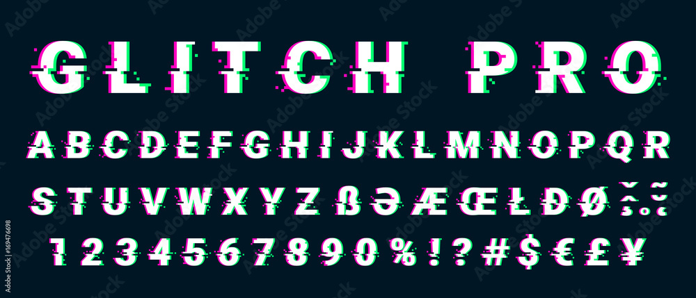 Fototapeta Glitch distorted font letter set with broken pixel effect
