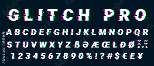 Fotomural Glitch distorted font letter set with broken pixel effect