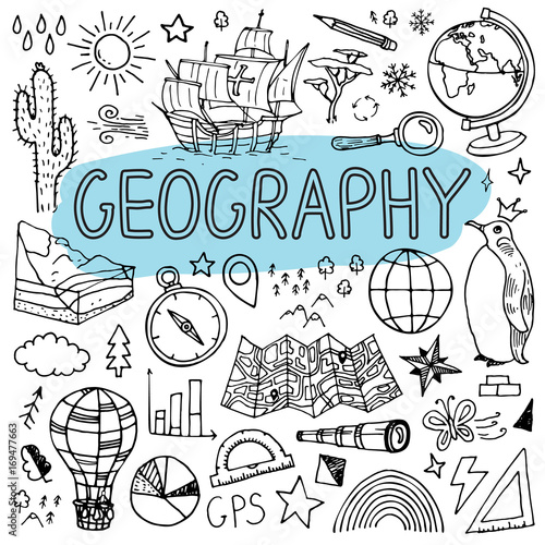Fotografie, Tablou  Geography hand drawn doodles. Vector back to school illustration.