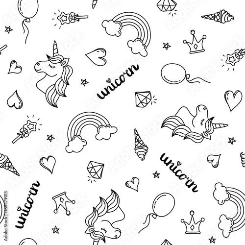 Photo  Unicorn, rainbow and hearts seamless pattern hand drawing black outline isolated