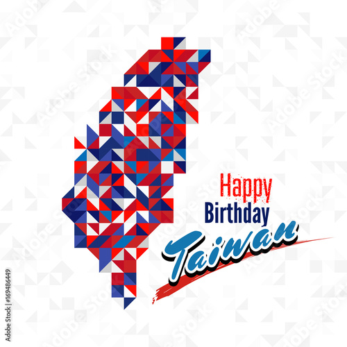 Happy Birthday Day Taiwan With Red Blue And White Color Map For