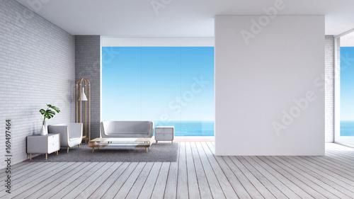 Obraz na płótnie Nowożytny Żywy izbowy biały drewniany podłogowy biały ściana z cegieł z kanapa widoku morza lata 3d renderingiem