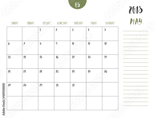 vector of calendar 2018 may in simple clean table style with note line in
