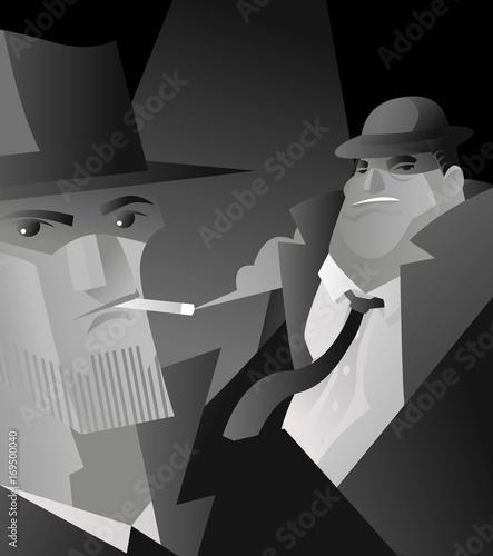 detective mafia interrogation Tablou Canvas