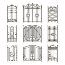 Iron Gates With Decorative Elements. Vector Monochrome Pictures Set