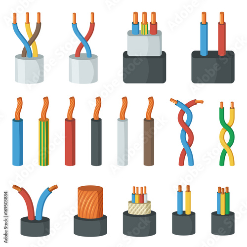 Photo Electrical cable wires, different amperage and colors